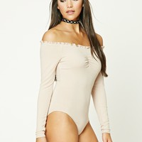 Ruffled Ribbed Knit Bodysuit
