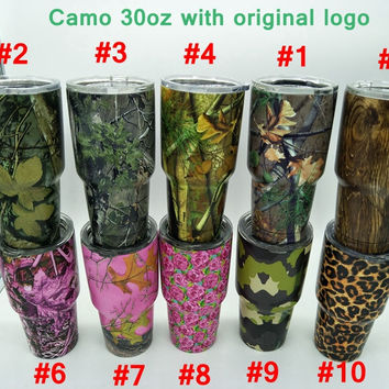 Camouflage 30oz Camo Rambler tumbler travel beer cups Stainless Steel 30 oz Cups Insulation coffee Mug 10 COLORS