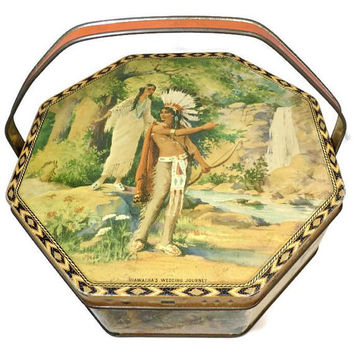Vintage Native American Tin, Hiawatha's Wedding Journey, Sewing Tin, Biscuit Tin, Lithographed TIn, Handled Box