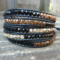 Beaded Leather Wrap Bracelet 5 Wrap with Black Gold and Copper Polished Czech Glass Beads on Black Leather
