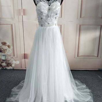 C.V Europe Heavy Pearls Beading Fashion Bohemian Beach Wedding Dress