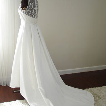 Lightly Beaded Soft White Sleeveless Embroidered Organza Full Skirt  with Train Wedding Dress