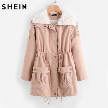 SHEIN Fleece Lined Pocket Front Drawstring Parka Coat Womens Winter Coats Pink Long Sleeve Casual Womens Coats