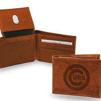 Chicago Cubs Wallet Premium Brown LEATHER BillFold Embossed Bifold Baseball