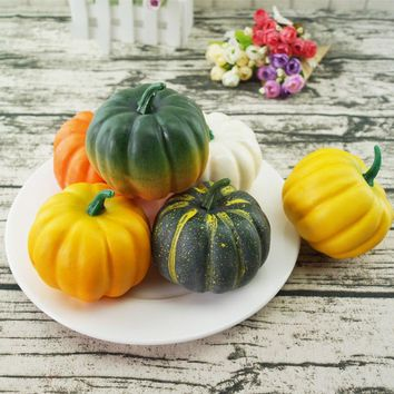 6pcs Simulation Lifelike Artificial Small Foam Pumpkins Table Centerpiece Party Supplies Photo Props Halloween Decoration