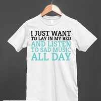 Sad Music All Day-Unisex White T-Shirt