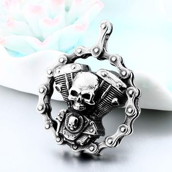 Heavy Bicycle Chain Skull Motorcycle Engine Pendant Stainless Steel