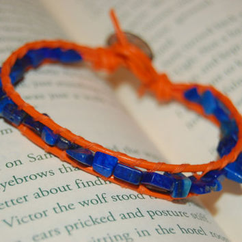 Oklahoma City Orange Leather Bracelet with Lapis, Thunder Fans