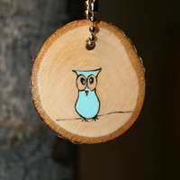 Owl Keychain Blue by starlightwoods on Etsy