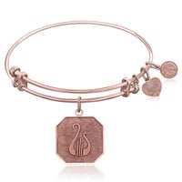 Expandable Bangle in Pink Tone Brass with Alpha Chi Omega Symbol