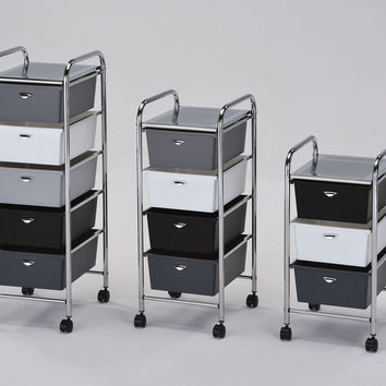 Acme Myah Storage Cart with 3 Drawer, Chrome & Shades of Gray
