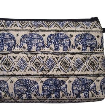 DCCKV2S Pencil Pen Cosmetic Makeup Case Pouch Bag Elephant Canvas Unique Handmade Blue