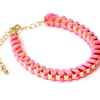 Neon Pink Nylon Bracelet Chain Linked BA37 Friendship Braided Fluorescent Tie Dye Bangle Fashion Jewelry