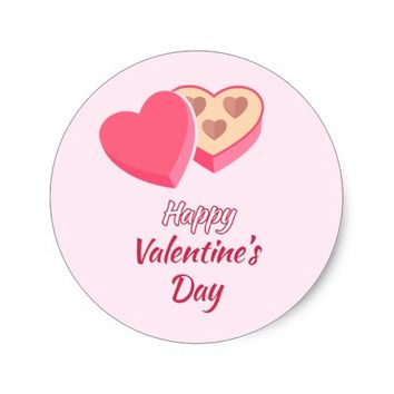 Pink Valentine's Day Heart Candy Box Sticker