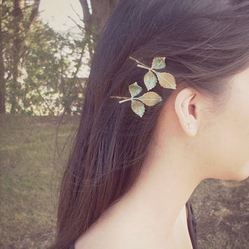 Daphne - Leaf Bobby Pins - Verdigris Green Leaves - Cute Adorable Boho Indie Rustic Elegant Romantic Whimsical Dreamy - Woodland Collection