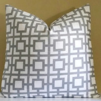 Gray Pillow Cover, Geometric Gray and White Pillow Cover, 16x16 18x18  20x20, Pick Your Pillow Size