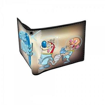 Ren & and Stimpy Space Bi-fold Bifold Men's Boy's Wallet OFFICIAL LICENSED NEW