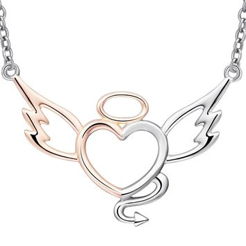 dropshipping 925 Sterling Silver jewelry Chain Pendant  Necklace Fashion Jewelry Angel love Necklaces & Pendants For Fine jewel