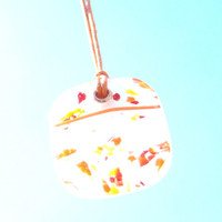Tangerine Dream Confetti & Streamers fused glass pendant on orange cord