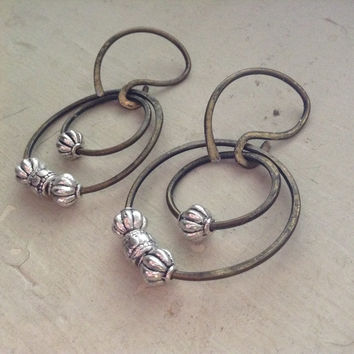 12 gauge ear weights with vintage sterling silver beads- gauges and plug friendly on hammered brass wire