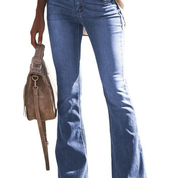 Womens Light Blue Wash Vintage Wide Leg Jeans