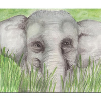 PRINT of my original Baby Elephant watercolor painting Nursery Decor Children ' s Room Affordable Art