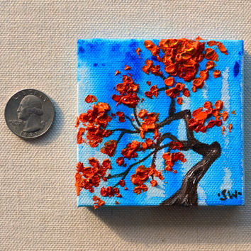 "Tiny art, Miniature, Red Bonsai Tree Original Oil Painting, Dollhouse Art, American Girl Doll, 3"", blue rain"