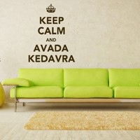 Words Sign Quote Keep Calm And Avada Kedavra Vinyl Decals Wall Art Sticker Home Modern Stylish Interior Decor for Any Room Smooth and Flat Surfaces Housewares Murals Design Graphic Bedroom Living Room (4295)