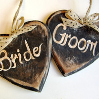 Bride and Groom Wedding Decoration / Bride and Groom Signage / Rustic Wedding