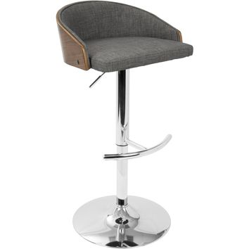 Shiraz Mid-Century Modern Adjustable Barstool, Walnut & Grey