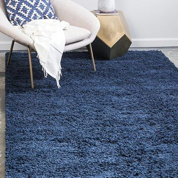 8000 Navy Blue Solid Color Shag Area Rugs