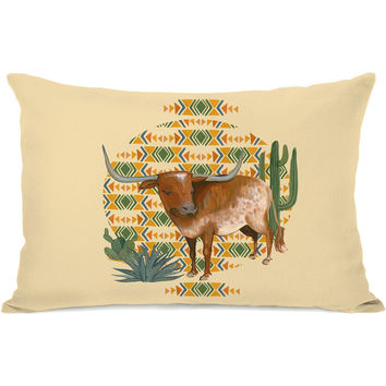 """Texas Longhorn"" Indoor Throw Pillow by April Heather Art, 14""x20"""