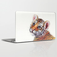 Tiger Cub Watercolor Painting Laptop & iPad Skin by Olechka