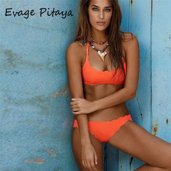 Bikini Set beach body soild orange green  2017 bikini brazilian Swimsuit brazilian Swimwear Vintage Bathing Suit tie bikini bottom 2017