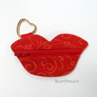 Be Mine Valentine Red Lips Coin Purse and Heart shaped Key Ring | SewAmazin - Bags & Purses on ArtFire