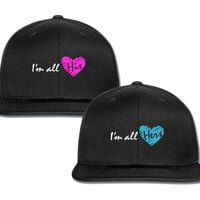 i'm all hers im all his couple matching snapback cap