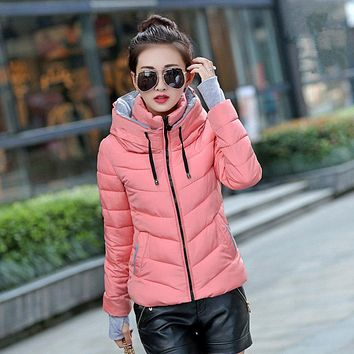 Womens Winter Jacket Parka Outerwear Female Coats Hooded Design Cotton-padded