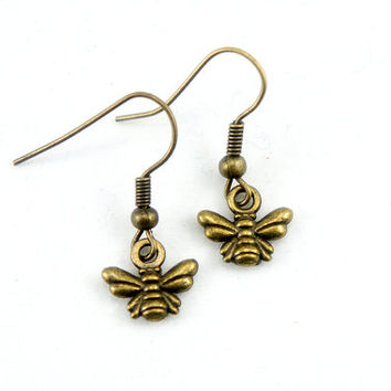 Tiny Little Moth Earrings - Antiqued Brass Vintage Style Tiny Butterfly Dangle Earrings - Bridesmaids Gifts Ideas - CP042
