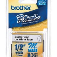 """Brother P-Touch 1/2"""" Wide Black Print on White Label (M-K231)"""