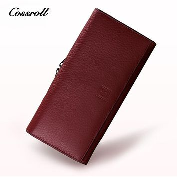 COSSROLL 100% Genuine Leather High Quality Wallets for Women and Men Trifold Wallet Women Wallets Luxury Brand Designer Purses