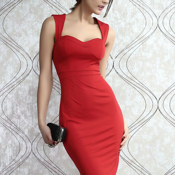 Red Padded Cut out Back Midi Dress