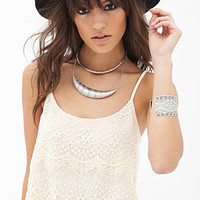 FOREVER 21 Tiered Lace Cami Nude