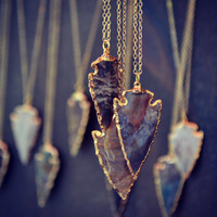 ARROWHEAD NECKLACES /// Electroformed Gemstone Arrowhead /// Gold