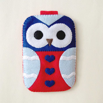 Nautical Summer Red Owl Blue Hearts Owl iPhone Camera. Cell Phone case. Gadget Cute Case with closure. Gift for her.