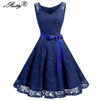 Lace Patchwork Women Vintage Dress Spring Summer Sleeveless Pin Up Rockabilly Plus Size 3XL Retro Robe Female Party Vestidos