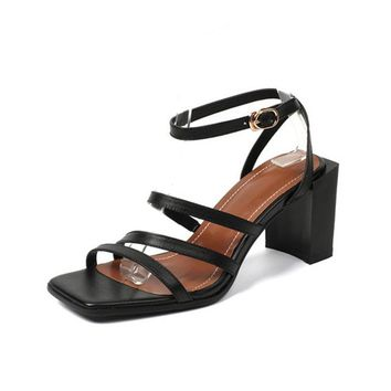 Square High Heels Shoes Ankle Strap Genuine Leather Summer Sandals Women's Pumps