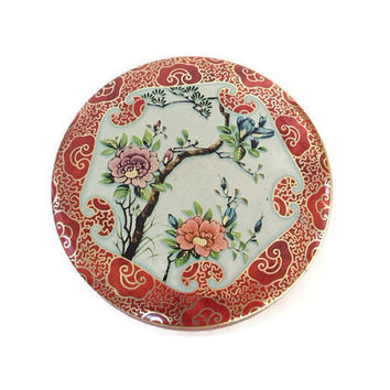 Vintage Daher Decorated Ware Tin Box, Round, Asian Garden Design, Flowers, Lidded Box, Candy Box, Coral and Gold, Cherry Blossoms,England