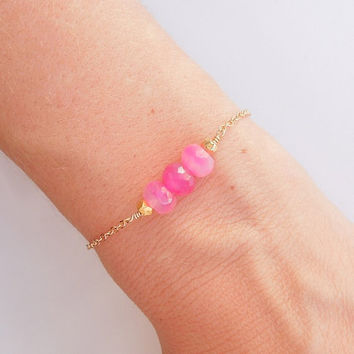 Neon Pink Chalcedony Bracelet in Gold