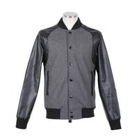 Gray Stand Collar Long PU Leather Sleeves Woolen Jacket