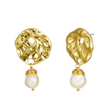 Hammered Gold Earrings Drop with Baroque Freshwater Pearls